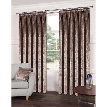 Luxe Champagne Crushed Velveteen Ready Made Curtains