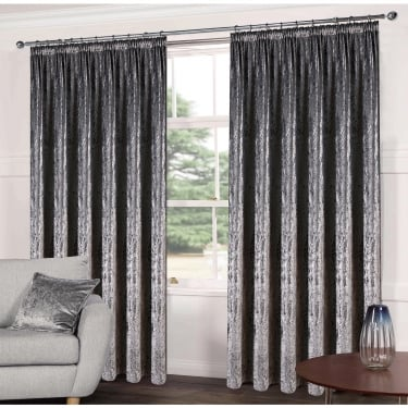 Luxe Steel Grey Crushed Velveteen Ready Made Curtains
