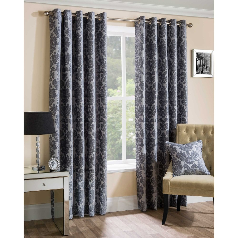 curtain silver grey luxury pair luna eyelet curtains thermal blackout