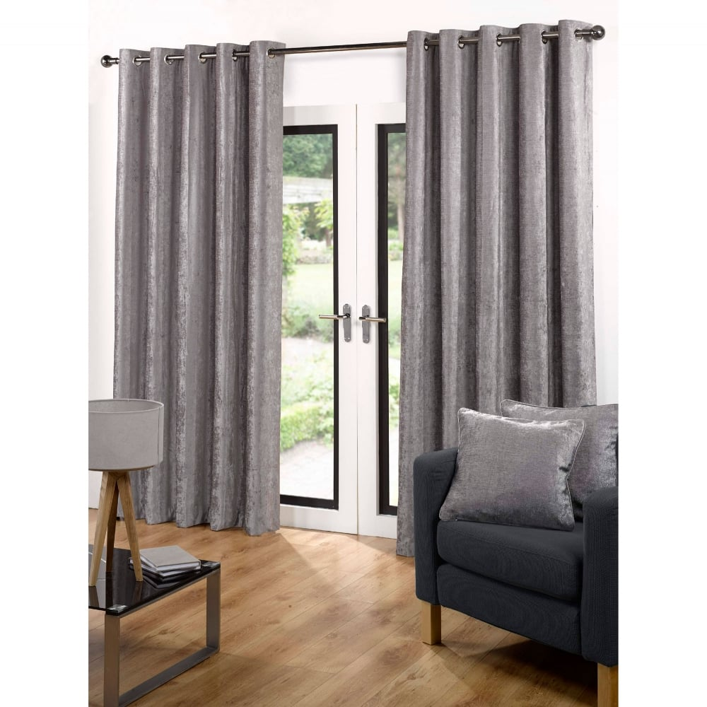 Ready Made Curtains Eyelet Velvet Grey | Closs & Hamblin