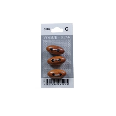 Teak Effect Toggle Buttons 0502 (Pack/3)