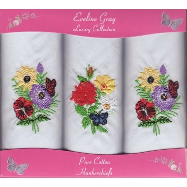 Three Floral & Butterfly Embroidered Hankies