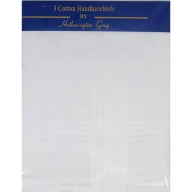 Three White Mens Hankies