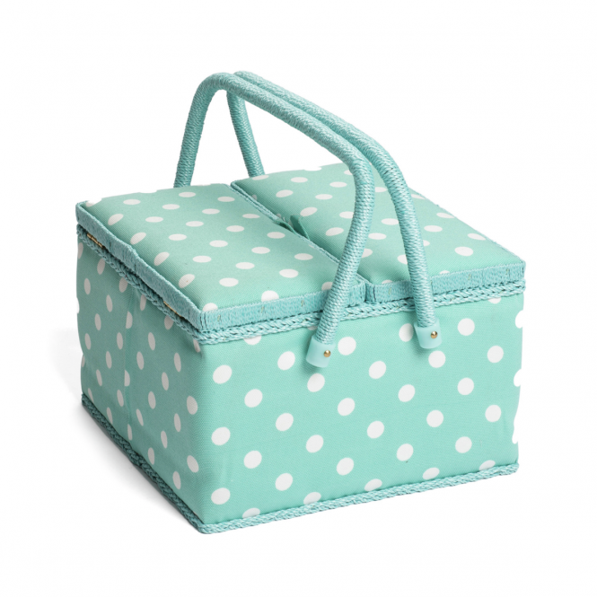 Twin Sewing Box Duck Egg Spot