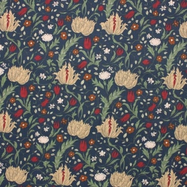 Victoria Trailing Floral/Leaf Navy Cotton Fabric