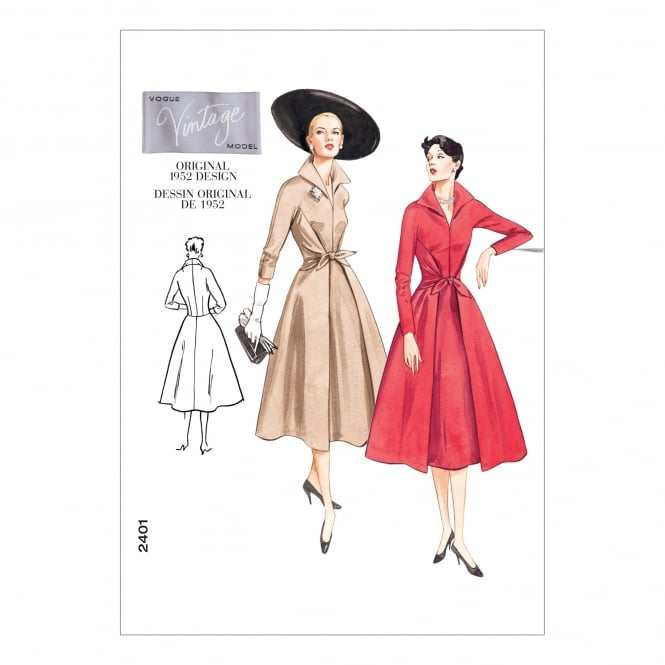 Vintage Vogue Sewing Pattern 2401 A Size 6 - 10