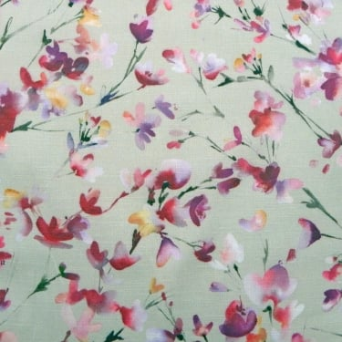 Voyage Belsay Raspberry Sand Floral Curtain Fabric
