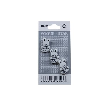White Bunny Buttons 0492 (Pack/3)