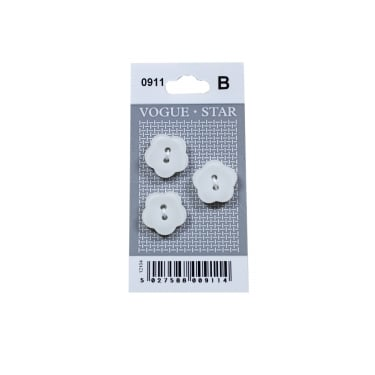 White Flower Buttons 0911 (Pack/3)