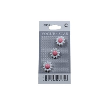 White/Pink Daisy Buttons 0335 (Pack/3)
