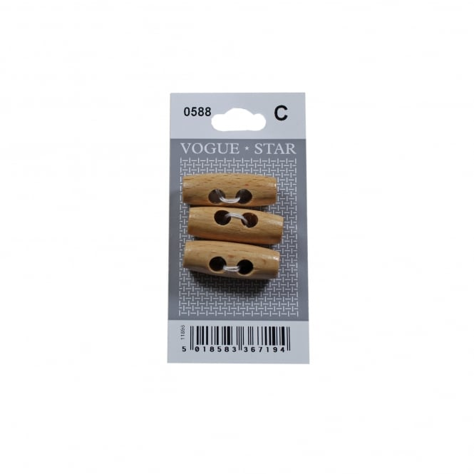 Closs & Hamblin Wooden Toggle Buttons 0588 (Pack/3)