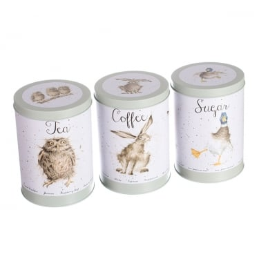 Wrendale Designs Set of Three Tea Coffee and Sugar Canisters