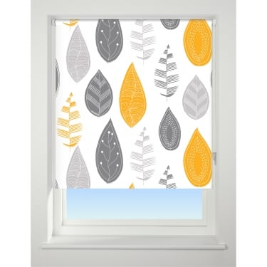 Yellow Scattered Leaf Blackout Roller Blind - 60cm