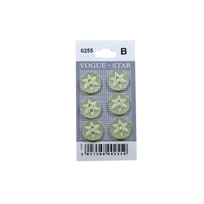 Yellow Star Buttons 0255 (Pack/6)